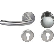 Poignée sur rosace Jilian acier inoxydable/satiné cylindre profilé avec bouton + poignée pour portes d''appartement à gauche-thumb-0