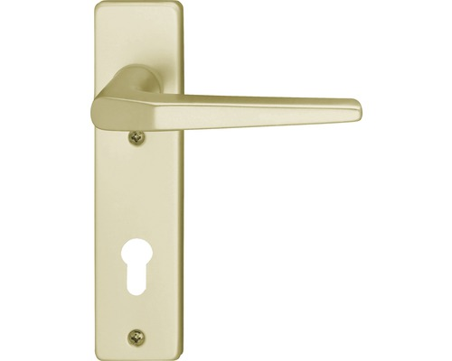 Poignée sur plaque courte Florence alu F2 anodisée cylindre profilé avec 2 poignées avec portes intérieures gauche/droite