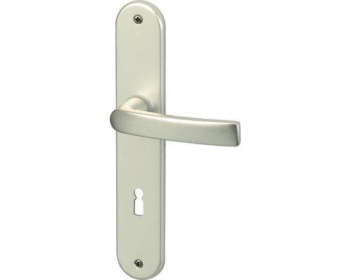 Poignée sur plaque longue Vanda alu F1 anodisé cylindre profilé avec 2 poignées pour portes d'appartement gauche/droite
