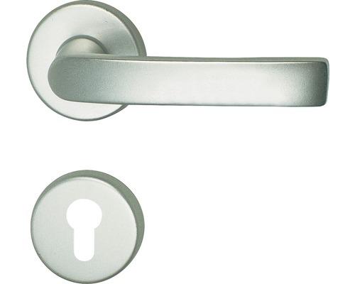Poignée sur rosace Vanda alu F1 anodisée cylindre profilé avec bouton + poignée pour portes d'appartement gauche/droite