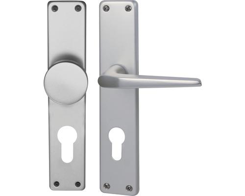 Poignée sur plaque longue Tanja alu F1 anodisé cylindre profilé avec bouton + poignée pour portes d'appartement gauche/droite