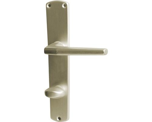 Poignée sur plaque longue Phil alu F2 anodisée WC pour portes de salles de bains + WC