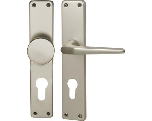 Poignée sur plaque longue Tanja alu F2 anodisé cylindre profilé avec bouton + poignée pour portes d'appartement gauche/droite