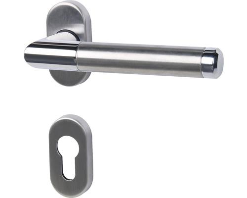 Demi-poignée Cork acier inoxydable/poli/satiné cylindre profilé pour portes d'entrée et d''appartement à gauche