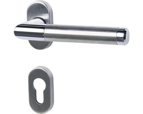 Demi-poignée Cork acier inoxydable/poli/satiné cylindre profilé pour portes d'entrée et d''appartement à droite