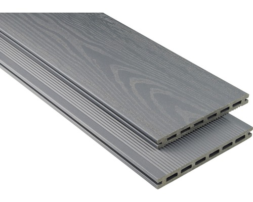 Planche pour terrasse en WPC Konsta XL gris pierre matte structurée 20x190 mm (au mètre à partir de 1000 mm jusqu''à 6000 mm max.)