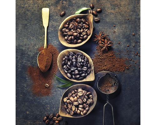 Tableau en verre Coffebean In Bowl 20x20 cm