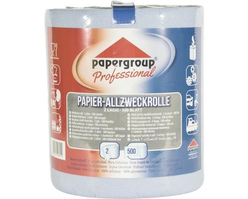 Rouleau de papier multi-usage à 2 couches, 500 feuilles, bleu