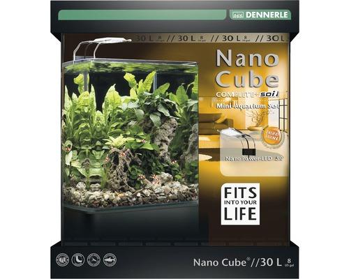 Aquarium DENNERLE NanoCube Complete+SOIL 30 l avec LED 5.0, substrat, filtre, panneau arrière, thermomètre