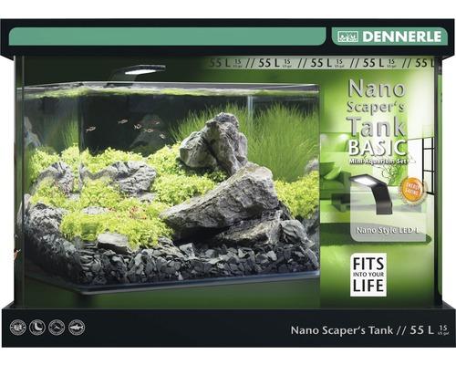 Aquarium DENNERLE Nano ScapersTank Basic 55L avec éclairage LED Style, filtre, support
