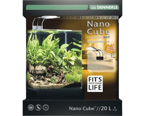 Aquarium DENNERLE Nano Cube Complete+ 20 l - Power LED 5.0 avec éclairage LED, substrat, filtre, paroi arrière, thermomètre