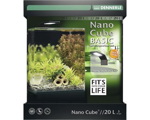 Aquarium DENNERLE Nano Cube Basic 20L avec éclairage LED Style, filtre, support, film pour la paroi arrière