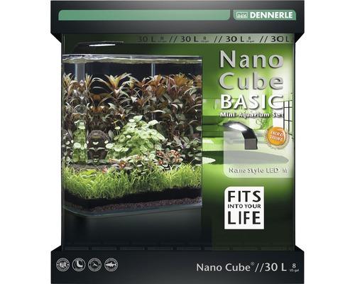Aquarium DENNERLE Nano Cube Basic 30 l avec éclairage LED Style, filtre, support, film pour la paroi arrière