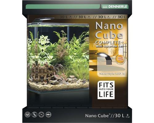 Aquarium DENNERLE Nano Cube Complete+ 30l - Style LED M avec éclairage LED, substrat, filtre, paroi arrière, thermomètre