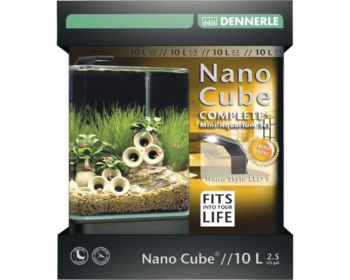 Aquarium DENNERLE Nano Cube Complete+ 10l - Style LED S avec éclairage LED, substrat, filtre, paroi arrière, thermomètre