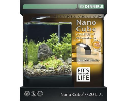 Aquarium DENNERLE Nano Cube Complete+ 20l - Style LED M avec éclairage LED, substrat, filtre, paroi arrière, thermomètre-0