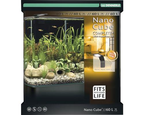 Aquarium DENNERLE Nano Cube Complete+ 60l avec éclairage LED, substrat, filtre, paroi arrière, thermomètre