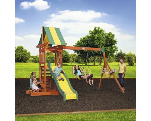 Tour de jeux Backyard DISCOVERY Sunnydale bois avec bac à sable, double balançoire, mur d''escalade, banc, toboggan vert
