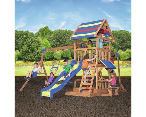Tour de jeux Backyard DISCOVERY Northbrook bois avec bac à sable, double balançoire, mur d''escalade, banc, toboggan bleu