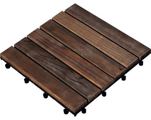 Dalle à clipser en bois de connifère 30x30cm traitement en autoclave par imprégnation marron