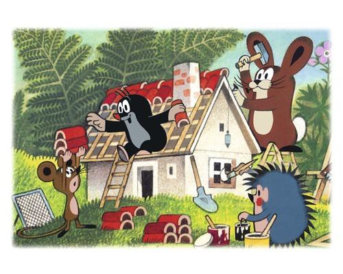 Carte postale Der kleine Maulwurf und Freunde bauen ein Haus 10,5x14,8 cm