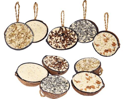 Nourriture toute saison 10 x 1/2 noix de coco, 5 variétés différentes