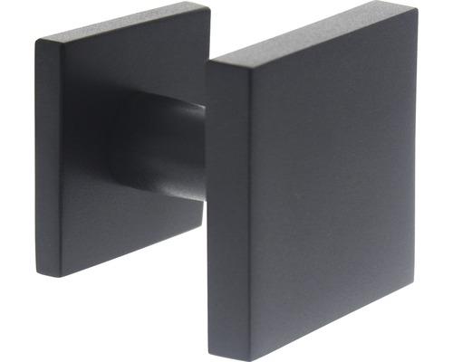 Bouton de porte d''entrée Intersteel carré 64x64 mm noir mat