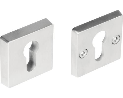 Rosace de protection carrée acier inoxydable pour cylindre profilé hxl 5/54 mm 1 paire
