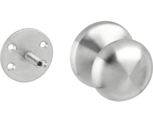 Bouton de porte d''entrée rond fixe montage d''un côté acier inoxydable Ø 58 mm 1 pièce