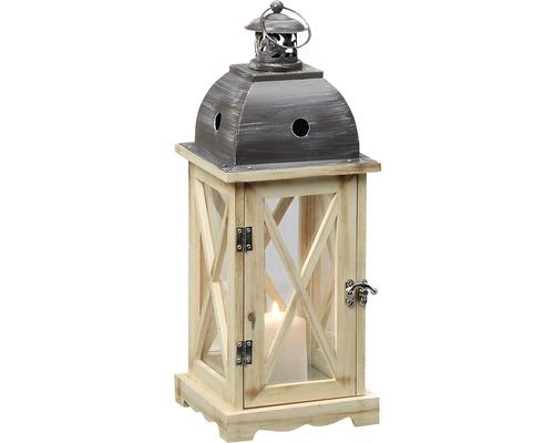 Lanterne Bristol métal-verre-bois 31x31x86cm marron