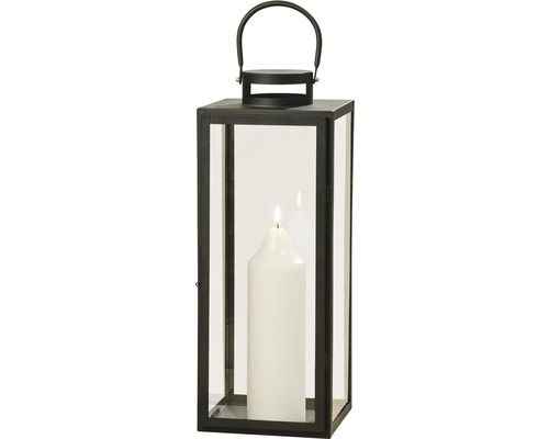 Lanterne Arana métal-verre 12x13x30cm noir
