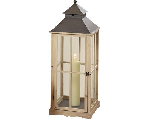 Lanterne Robert métal-verre-bois 20x20x62cm marron
