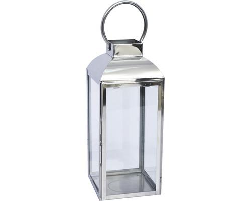 Lanterne métal-verre 15x16x39cm argent