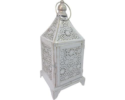 Lanterne en fer 13x13x32cm blanc-or
