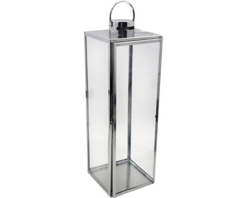 Lanterne métal-verre 24x23x70,5cm argent