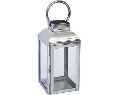Lanterne métal-verre 13x12x25cm argent