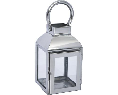 Lanterne métal-verre 10x9x16cm argent