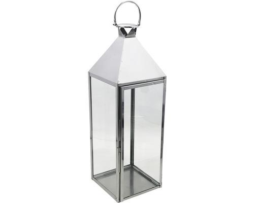 Lanterne métal-verre 24,5x23,5x69,5cm argent