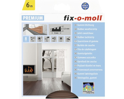 E-Profildichtung fix-o-moll selbstklebend braun 6 m 4 x 9 mm