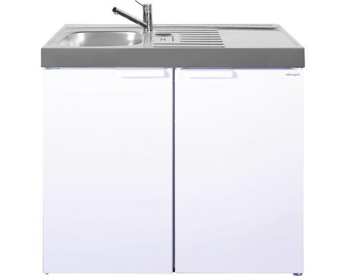 Mini-cuisine stengel Kitchenline MK100, largeur 100 cm, bac à gauche blanc brillant 1110000006100