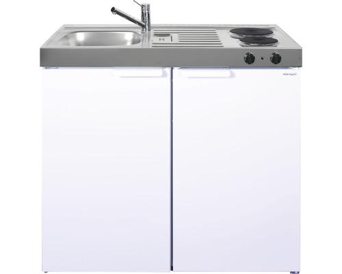 Mini-cuisine stengel Kitchenline MK100, largeur 100 cm, bac à gauche blanc brillant 1110000002100