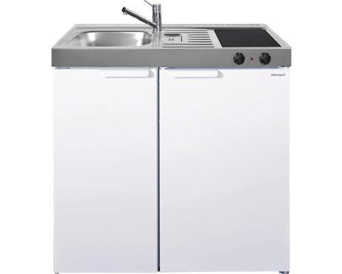 Mini-cuisine stengel Kitchenline MK90, largeur 90 cm, bac à gauche blanc brillant 1109000004100