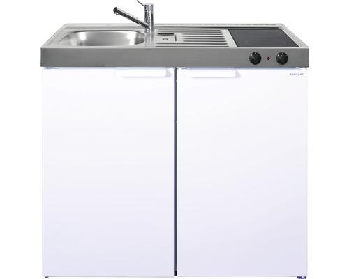 Mini-cuisine stengel Kitchenline MK100, largeur 100 cm, bac à gauche blanc brillant 1110000004100