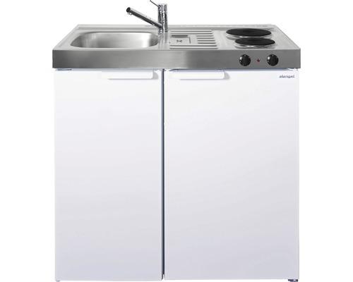 Mini-cuisine stengel Kitchenline MK90, largeur 90 cm, bac à gauche blanc brillant 1109000002100