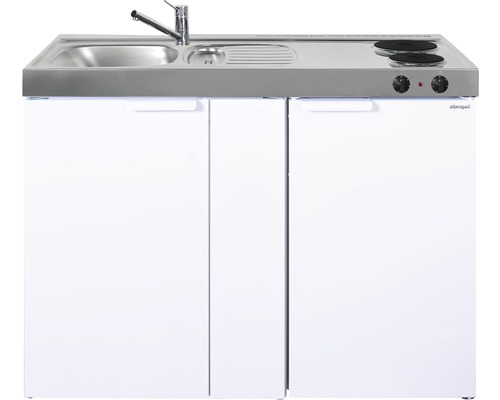 Mini-cuisine stengel Kitchenline MK120, largeur 120 cm, bac à gauche blanc brillant 1112000102100