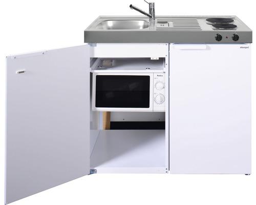 Mini-cuisine stengel Kitchenline MKM100, largeur 100 cm, bac à gauche blanc brillant 1110001002100