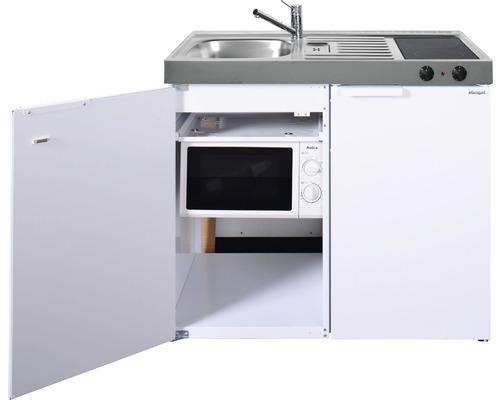 Mini-cuisine stengel Kitchenline MKM100, largeur 100 cm, bac à gauche blanc brillant 1110001004100