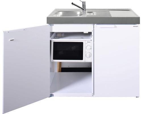 Mini-cuisine stengel Kitchenline MKM100, largeur 100 cm, bac à gauche blanc brillant 1110001006100