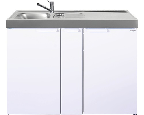 Mini-cuisine stengel Kitchenline MK120A, largeur 120 cm, bac à gauche, blanc brillant 1112000206100