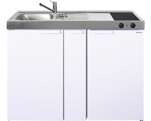 Mini-cuisine stengel Kitchenline MK120A, largeur 120 cm, bac à gauche, blanc brillant 1112000204100